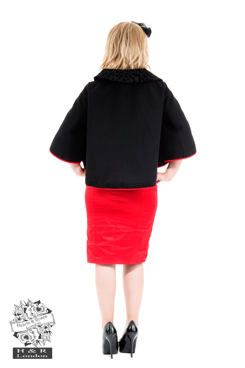 Black Red Trimmed Poncho