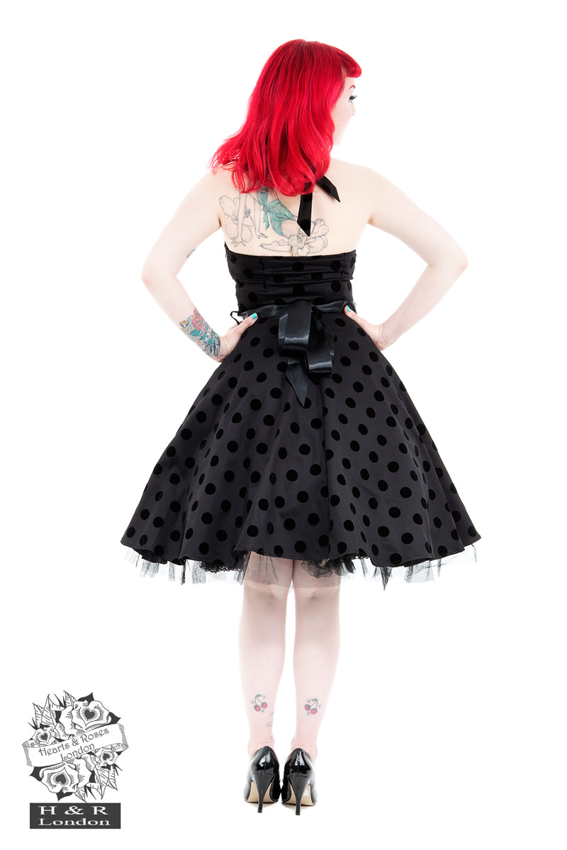 Black Black Flocked Polka Dot Swing Dress