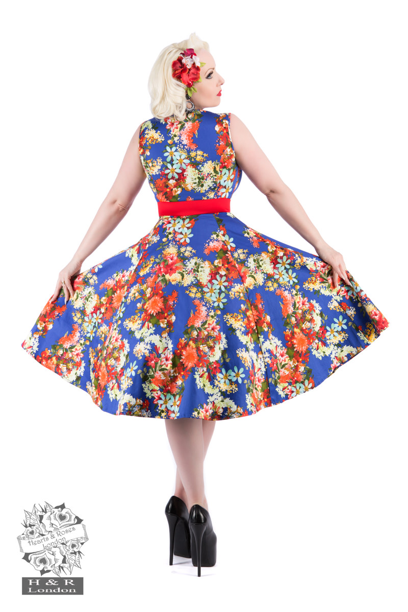 Royal Blue 50s Georgina Floral Swing Dress