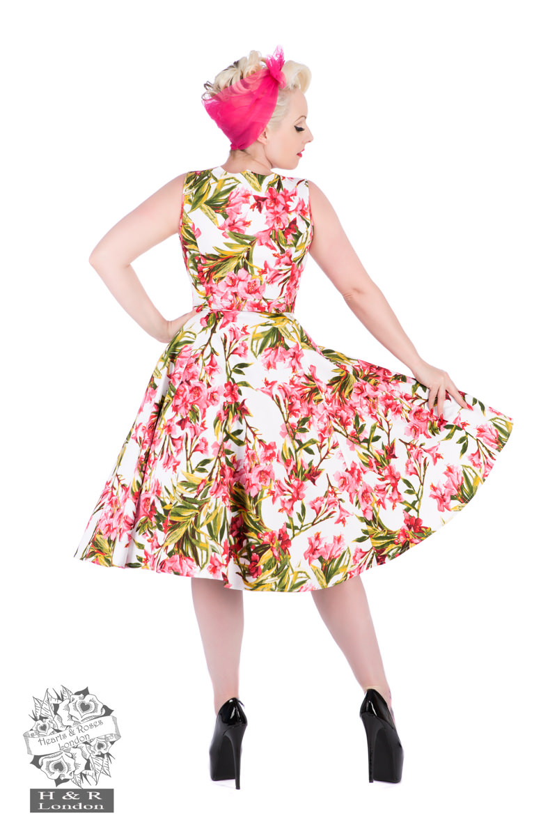 50s Pink Maureen Floral Swing Dress in White