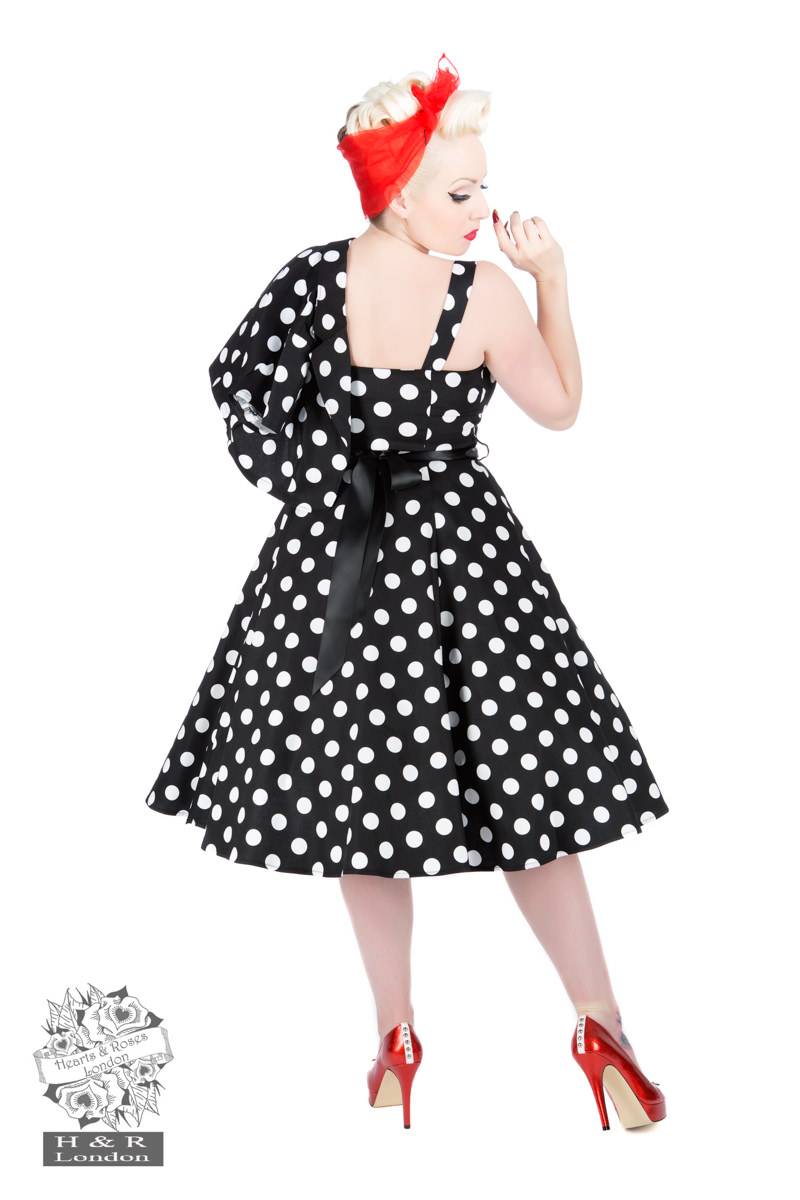 Black White Big Dot Swing Dress With Bolero
