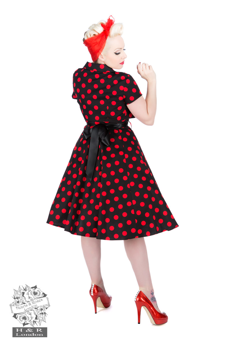 Black Red Big Dot Swing Dress With Bolero