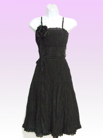 Black Creased Slinky Dress