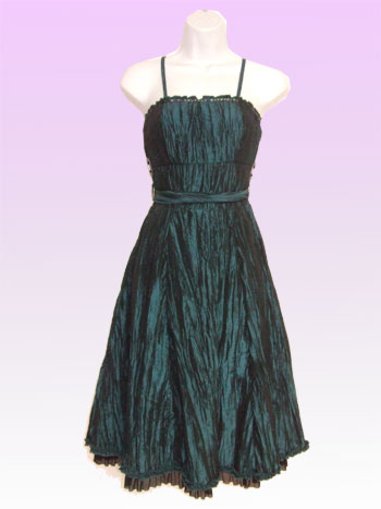 Greenish Creased Slinky Dress