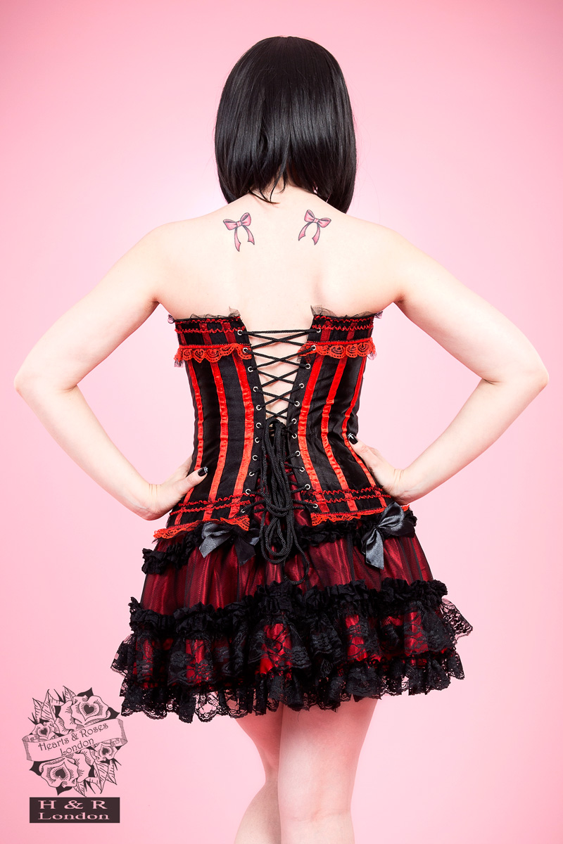 Red Burlesque Satin Corset