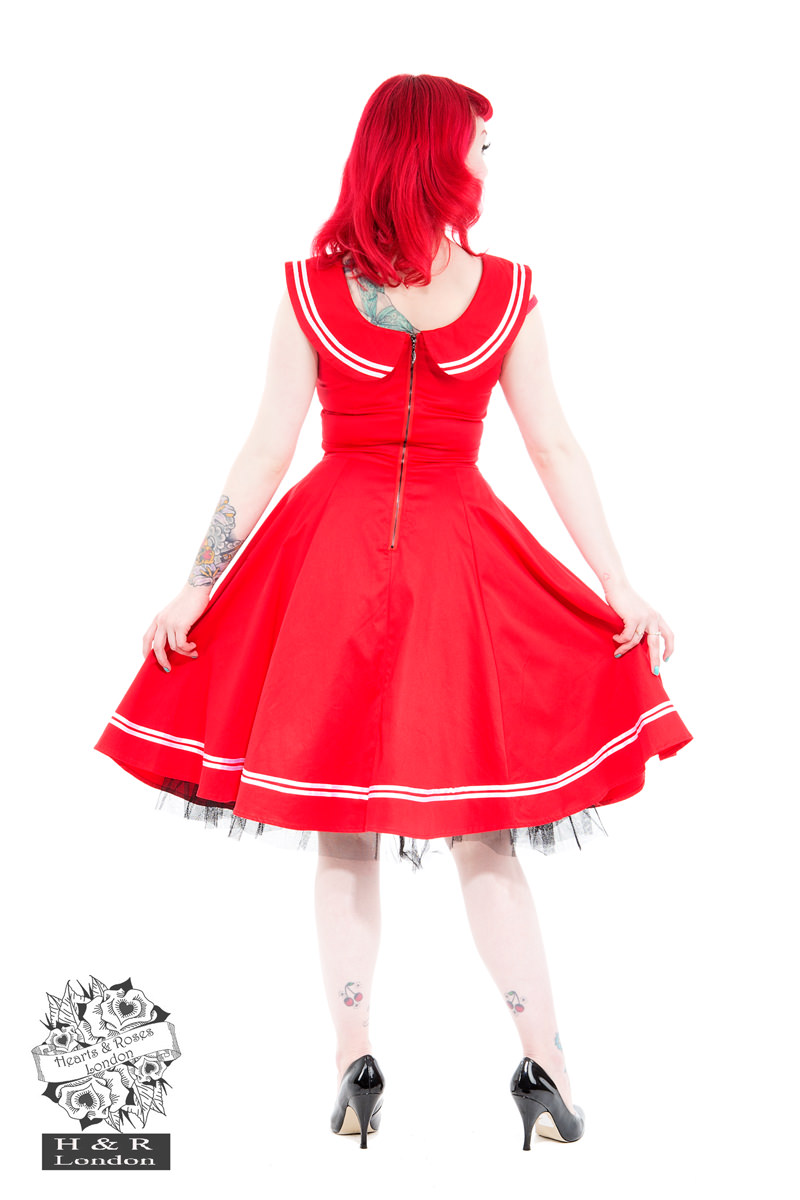 Red Sailor Dress with Round Collar