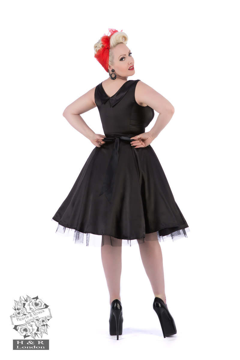 Black Satin 50s Prom Swing Dress
