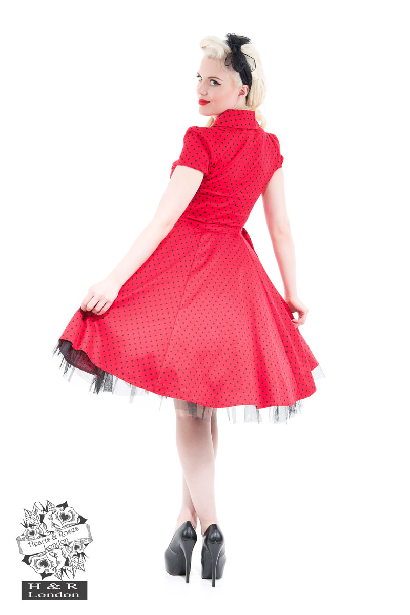 Red Black Small Polka Dot Tea Dress