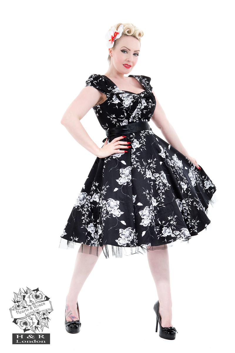 50's Imitation Black White Floral Tea Dress