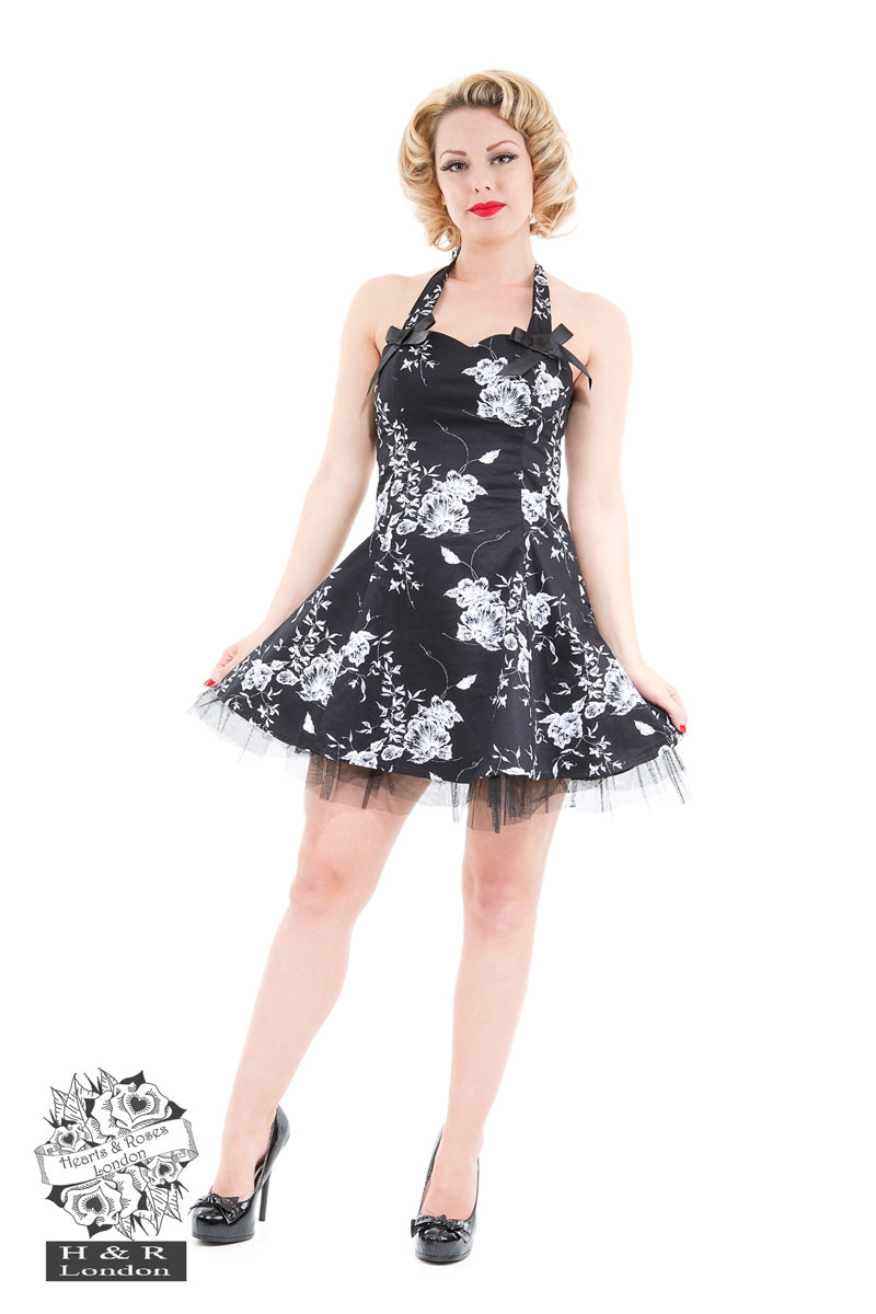 Acetate Black White Floral Dress