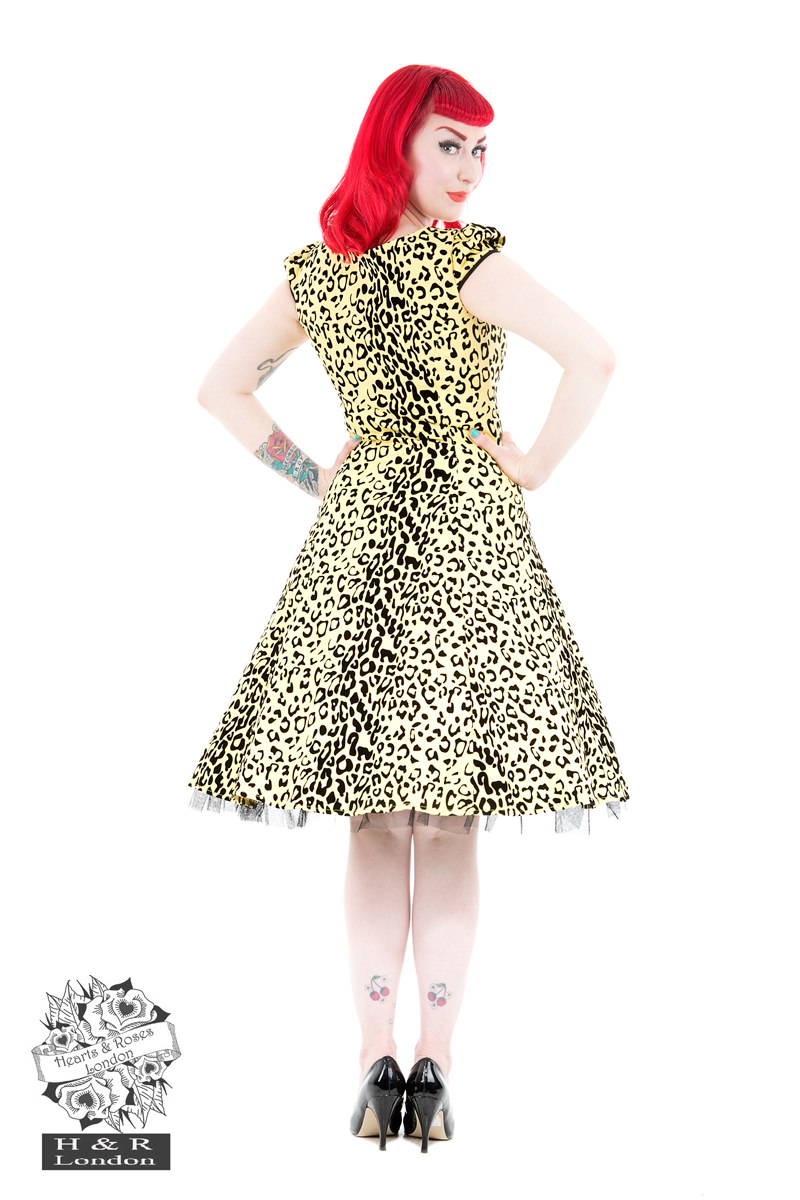Arianna Yellow Leopard Flocked Day Dress