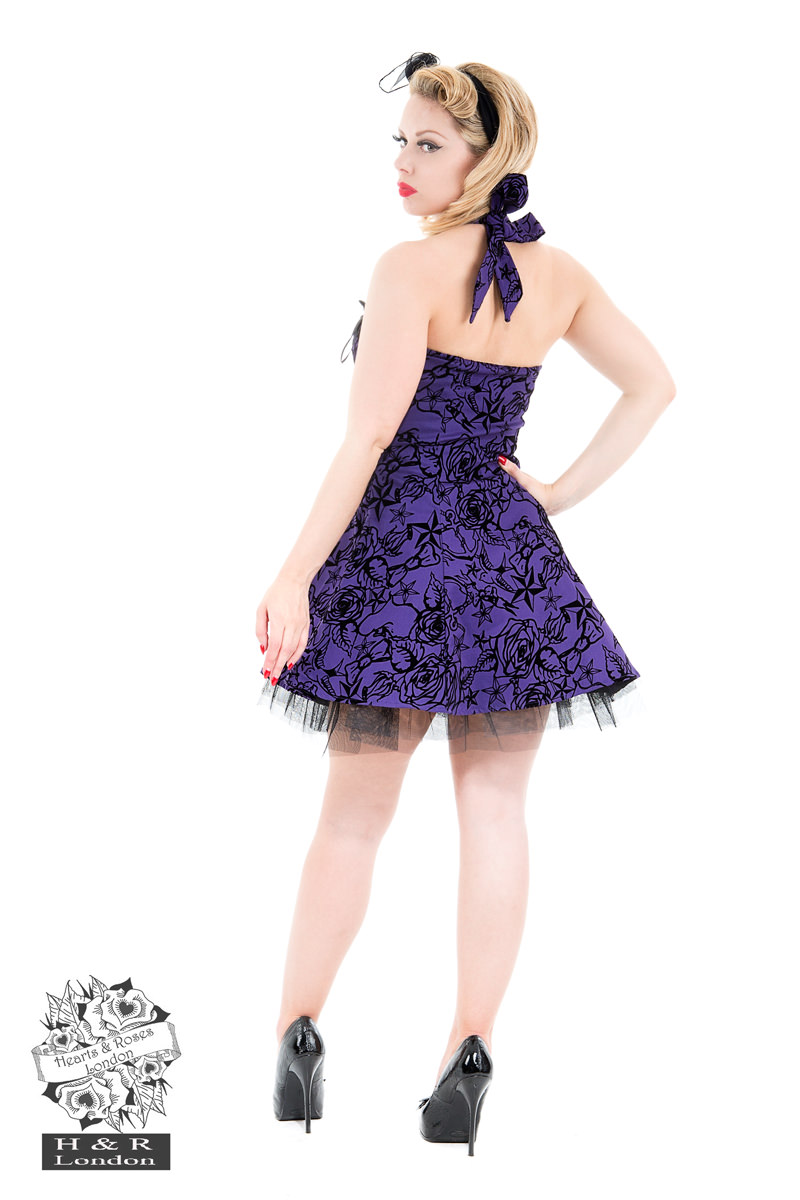 Purple Flocked Tattoo Dress
