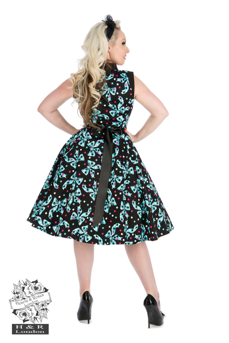 Black Blue Bow Long Dress