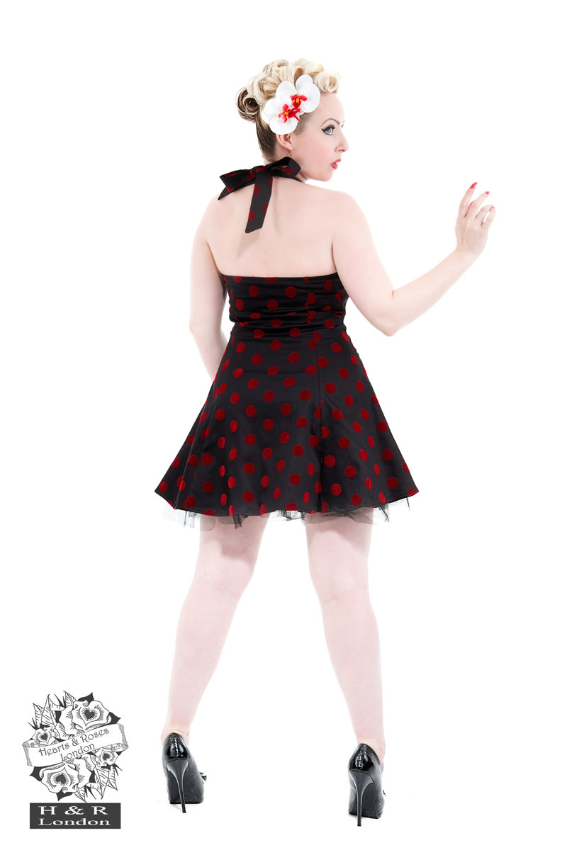 Black Red Flocked Dot Dress