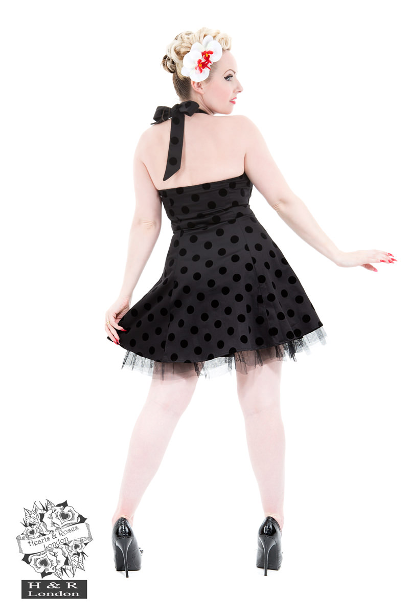 Black Flocked Dot Dress