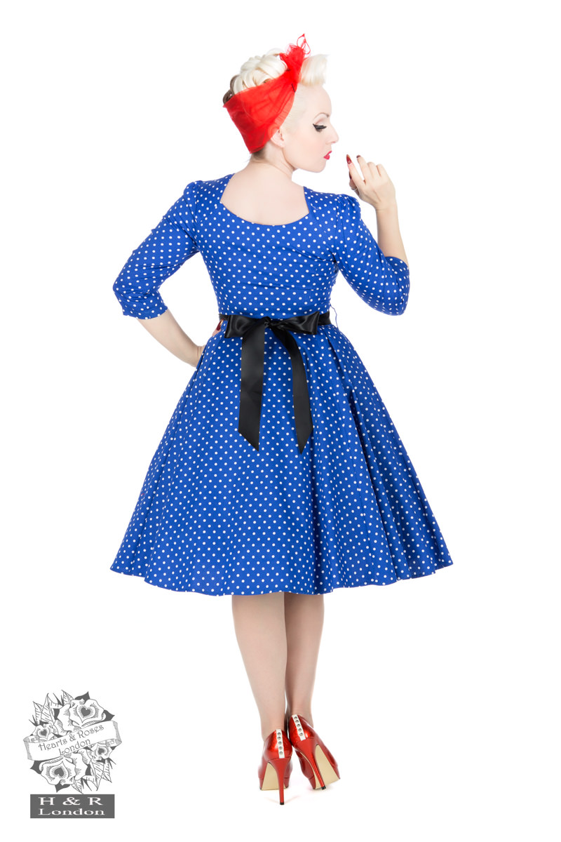 Veronica Blue White Polka Dot 3/4 Sleeves Dress