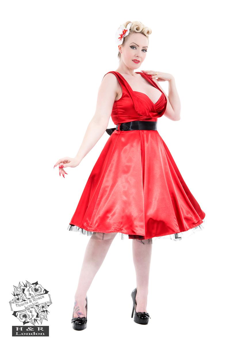 Red Satin 50s Prom Swing Dress