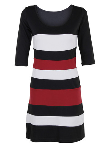 Black Red White Stripe Dress