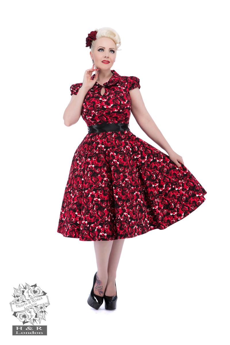Black Red Rose Tea Dress