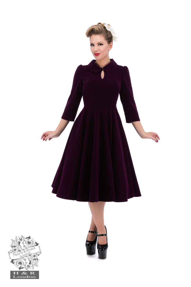 Glamorous Velvet Tea Dress In Dark Purple