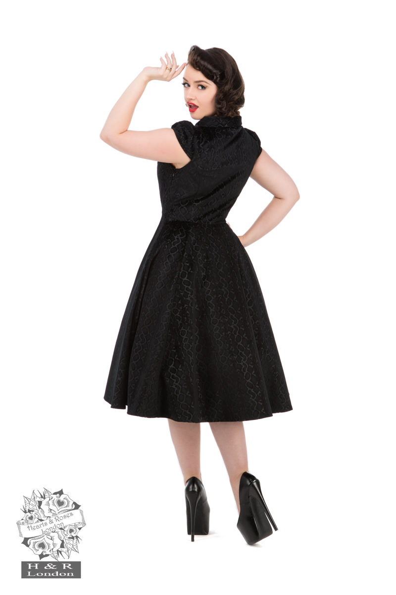 Desirable Black Velvet Flocked Tea Dress