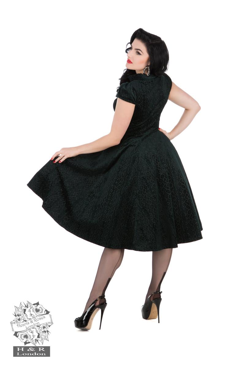 Desirable Dark Teal Green Velvet Flocked Tea Dress