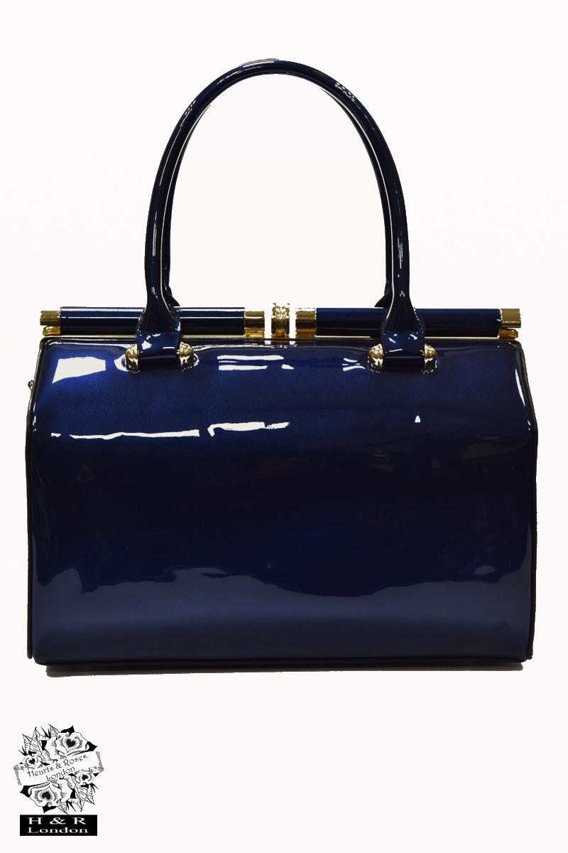 Navy Blue Patent Handheld Bag