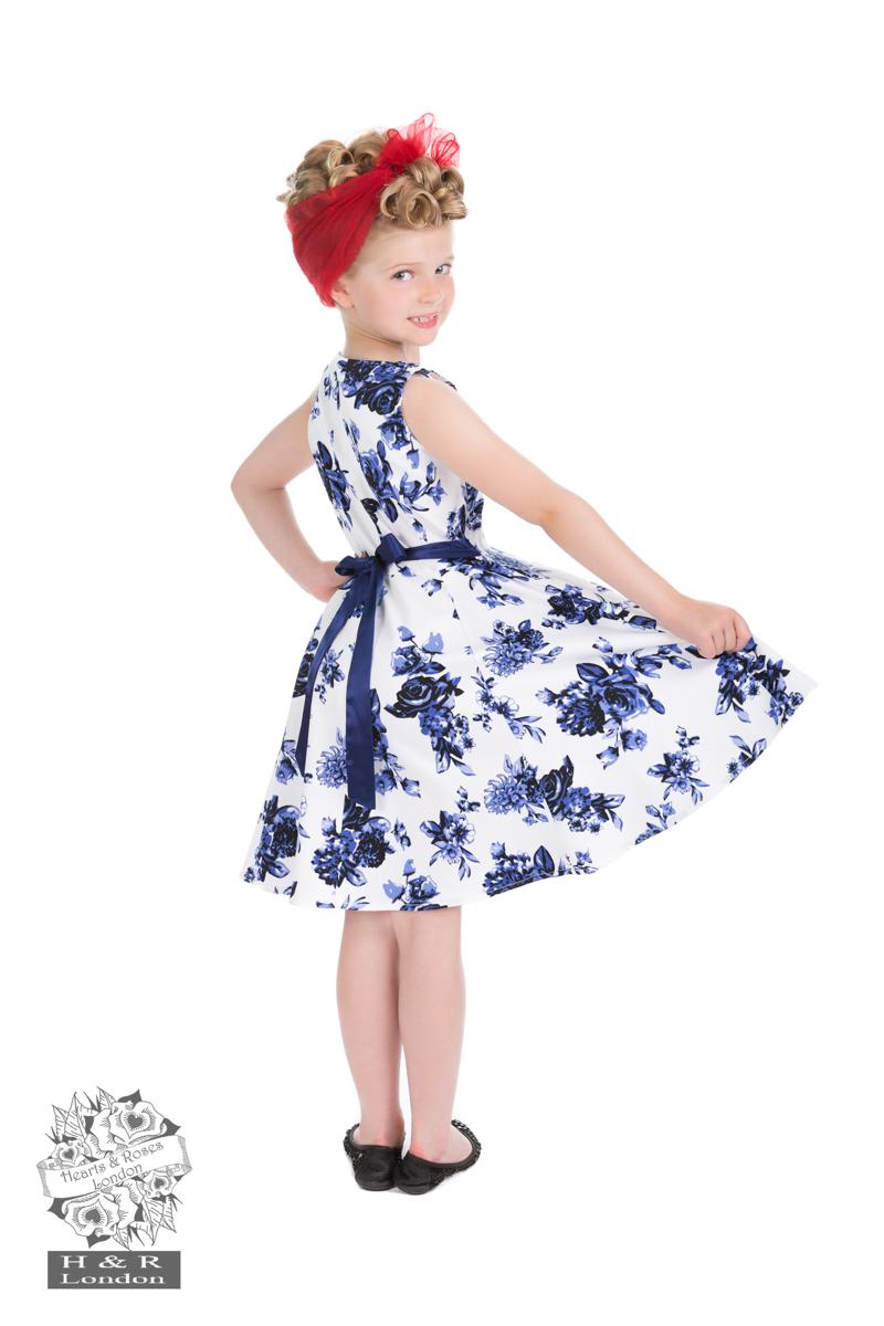 Girls Blue Rosaceae Swing Dress