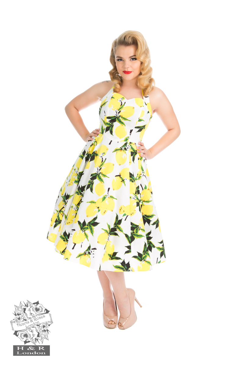 Lemon Print Swing Dress in White