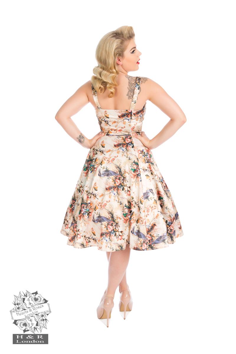 Botanical Bird Print Dress Swing Dress