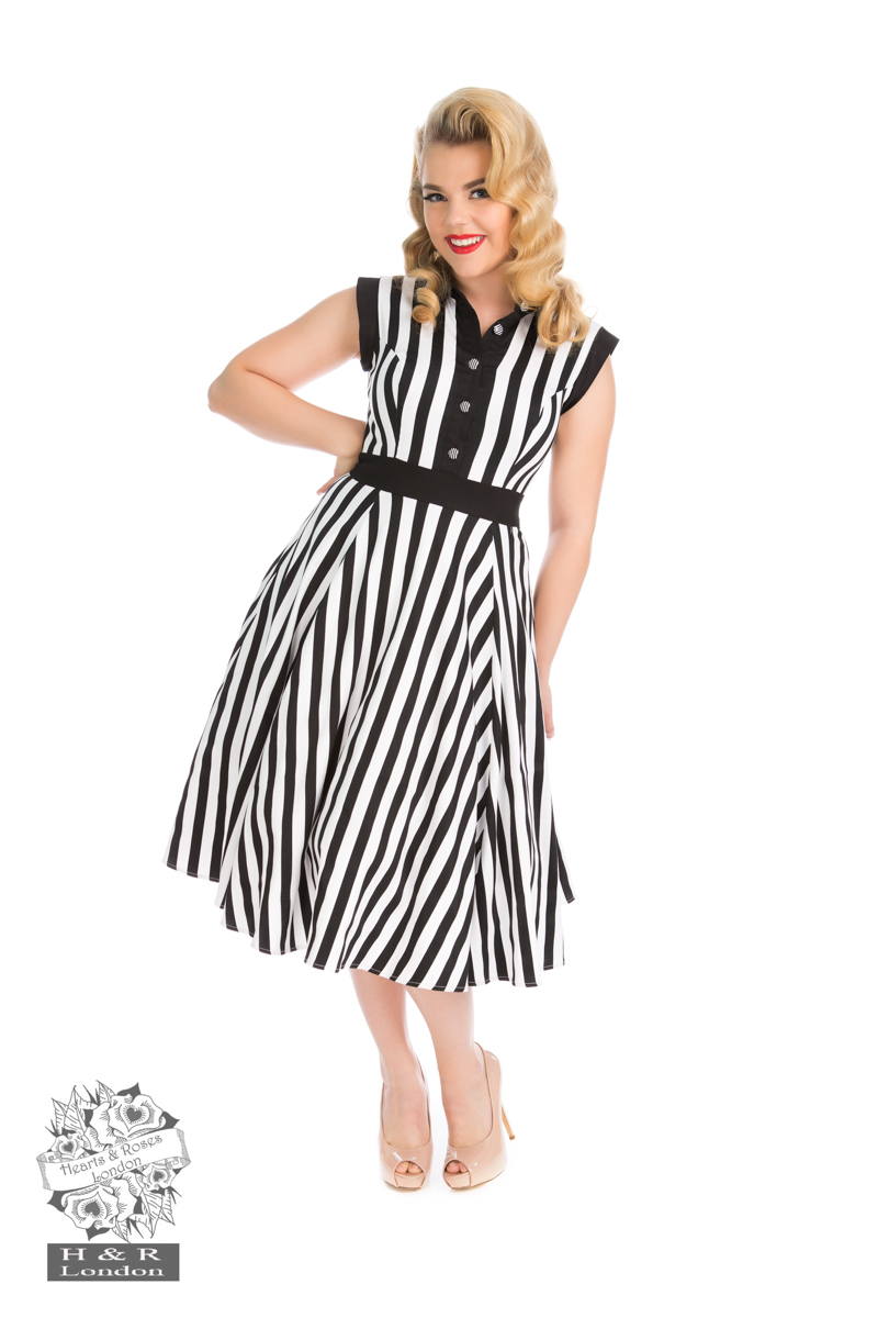 Black White Striped Tea Dress