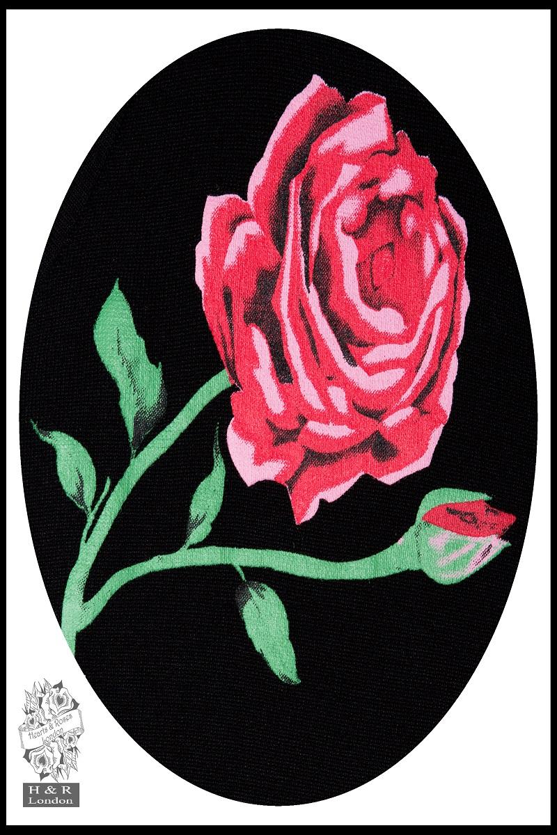 Rose Print Cardigan In Black