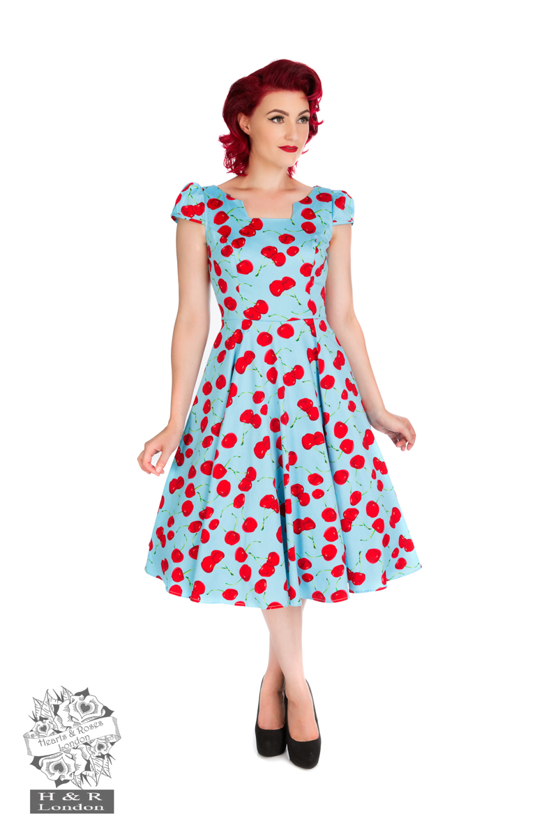 Blue Bombshell Cherry Tea Dress