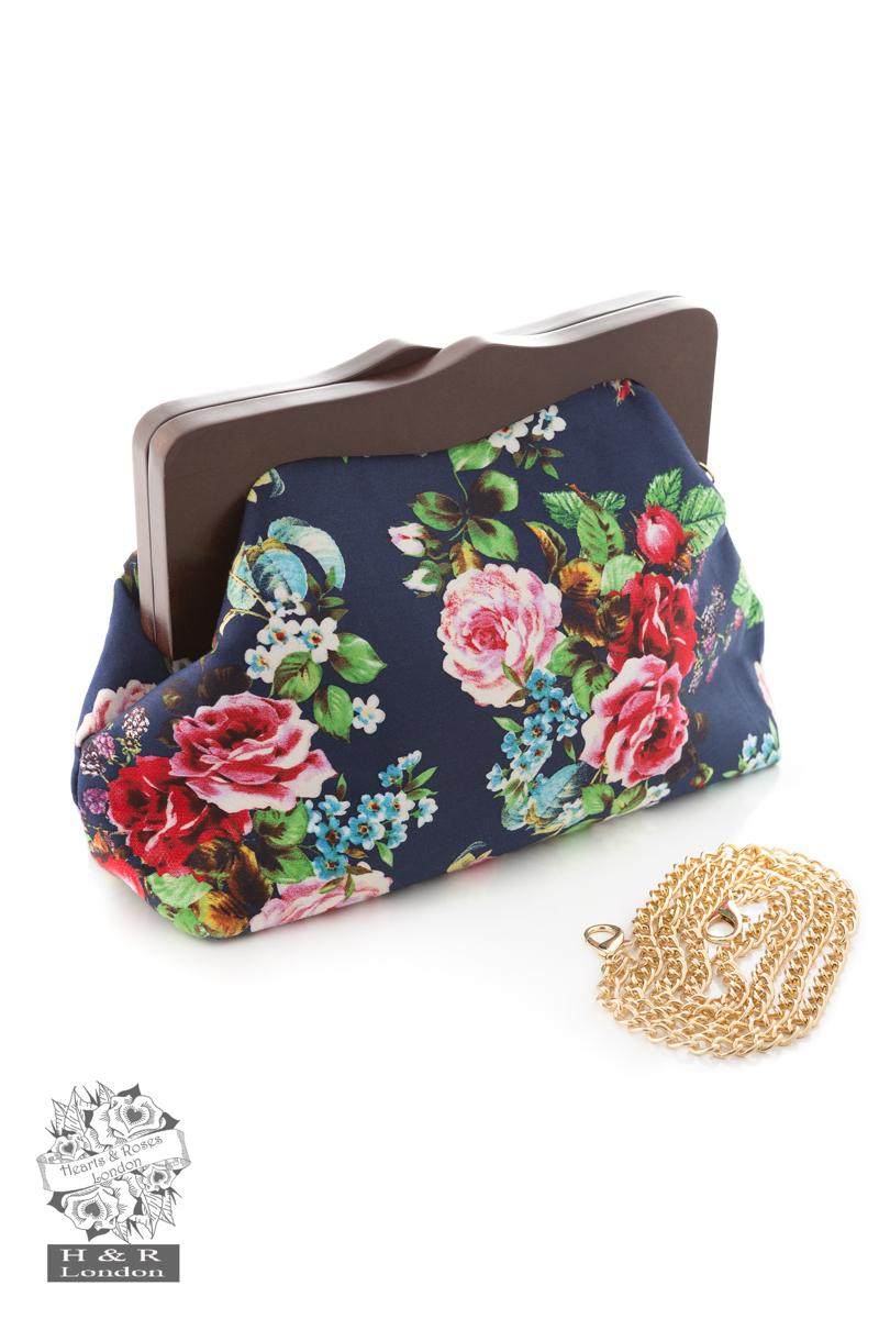 Navy Floral Clutch Bag