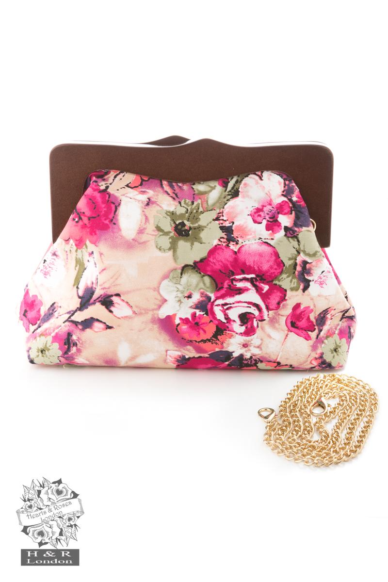 Pink Floral Clutch Bag