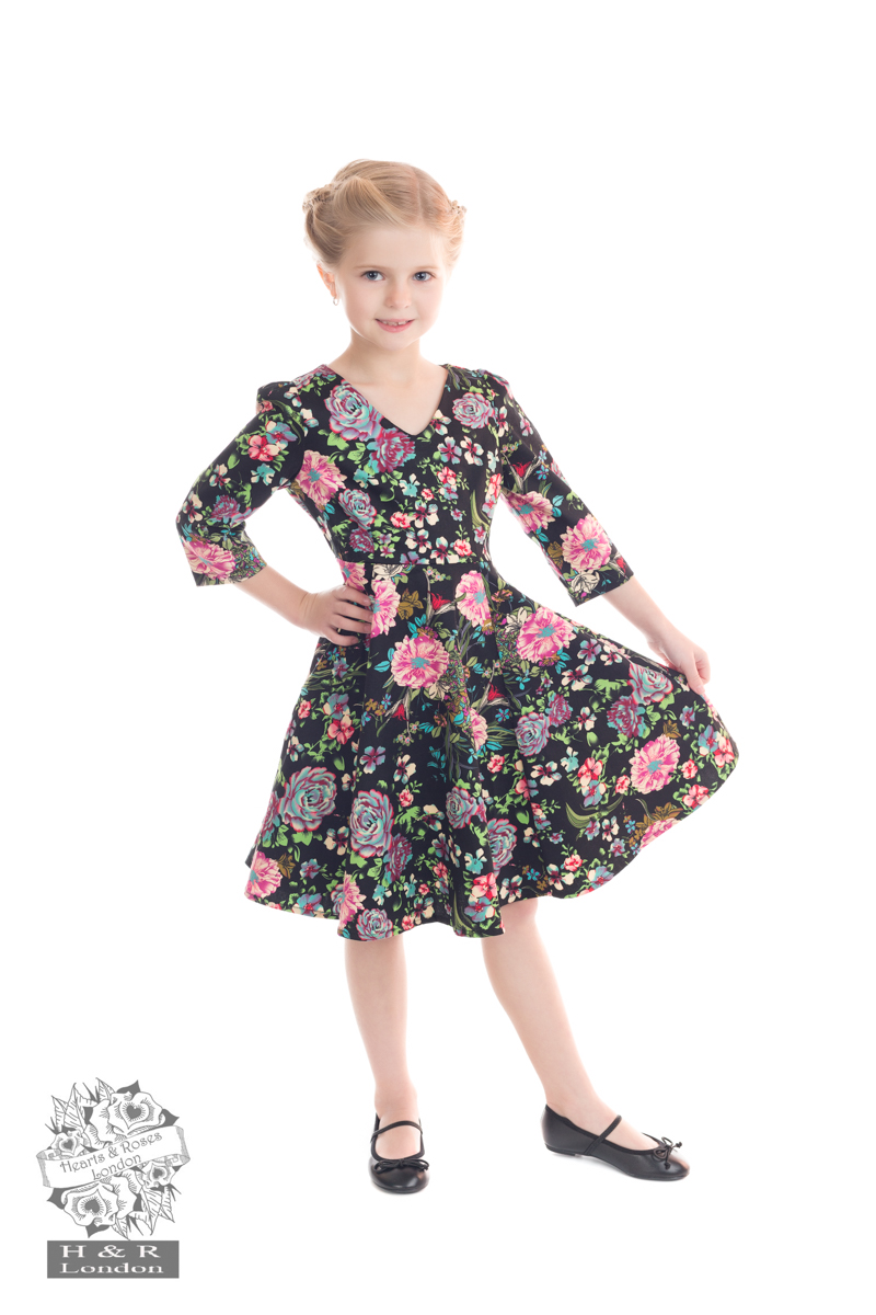 Romantic Bloom 3/4 Sleeves Swing Dress (KIDS) ONLY 3-4, 5-6