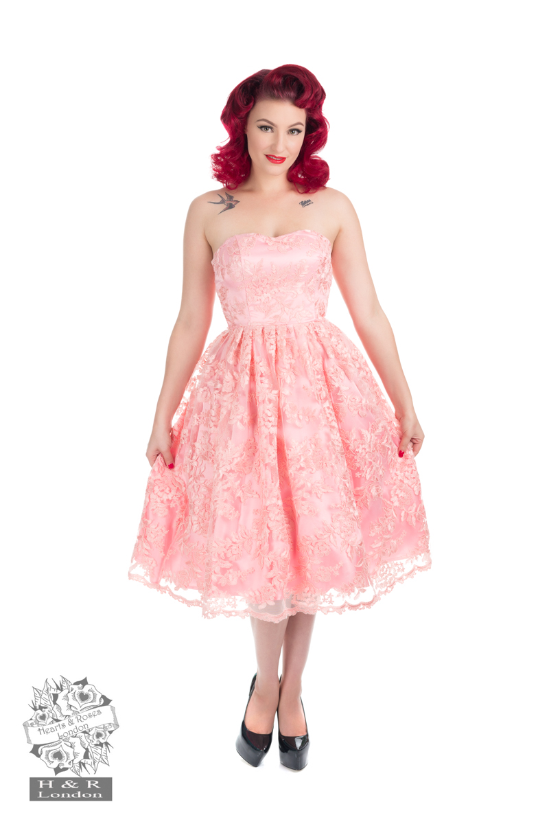 Pink Chantilly Lase Strapless Dress