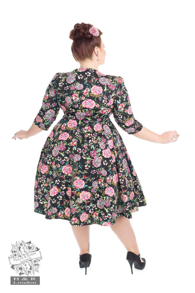 Romantic Bloom ¾ Sleeves Swing Dress