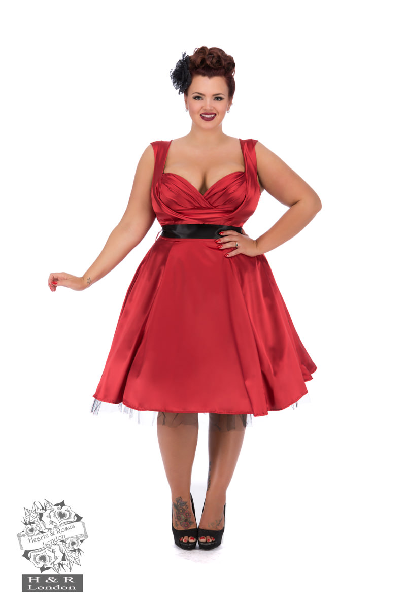 Red Satin 50s Prom Swing Dress