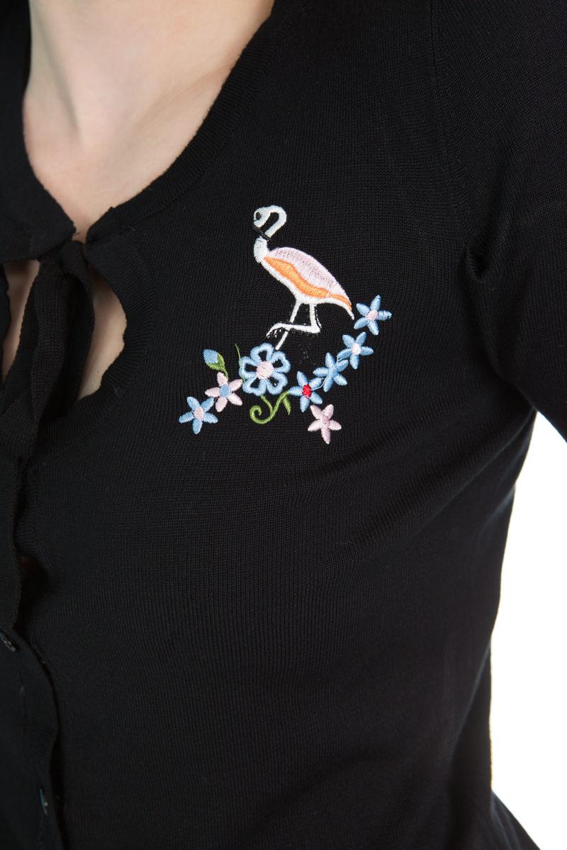 Jean Flamingo Cardigan In Black
