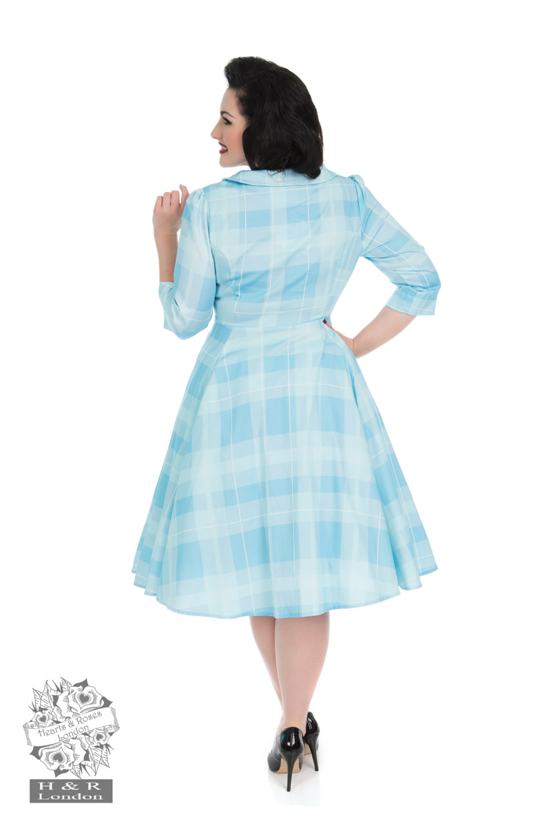Sweet Blue Checked Swing Dress