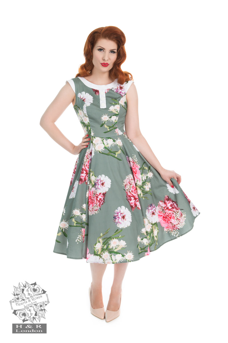 Mix Floral Hepburn Dress In Grey