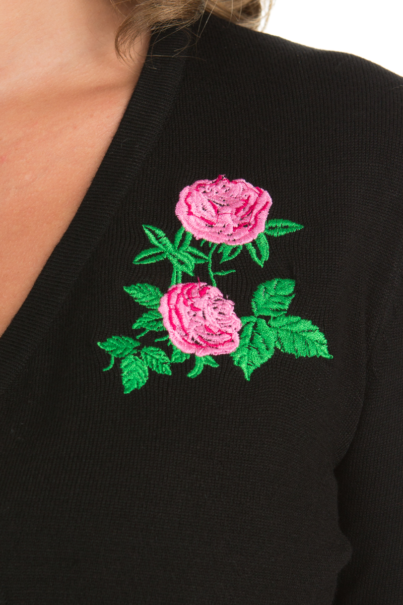 Centifolia Rose Shrug In Black