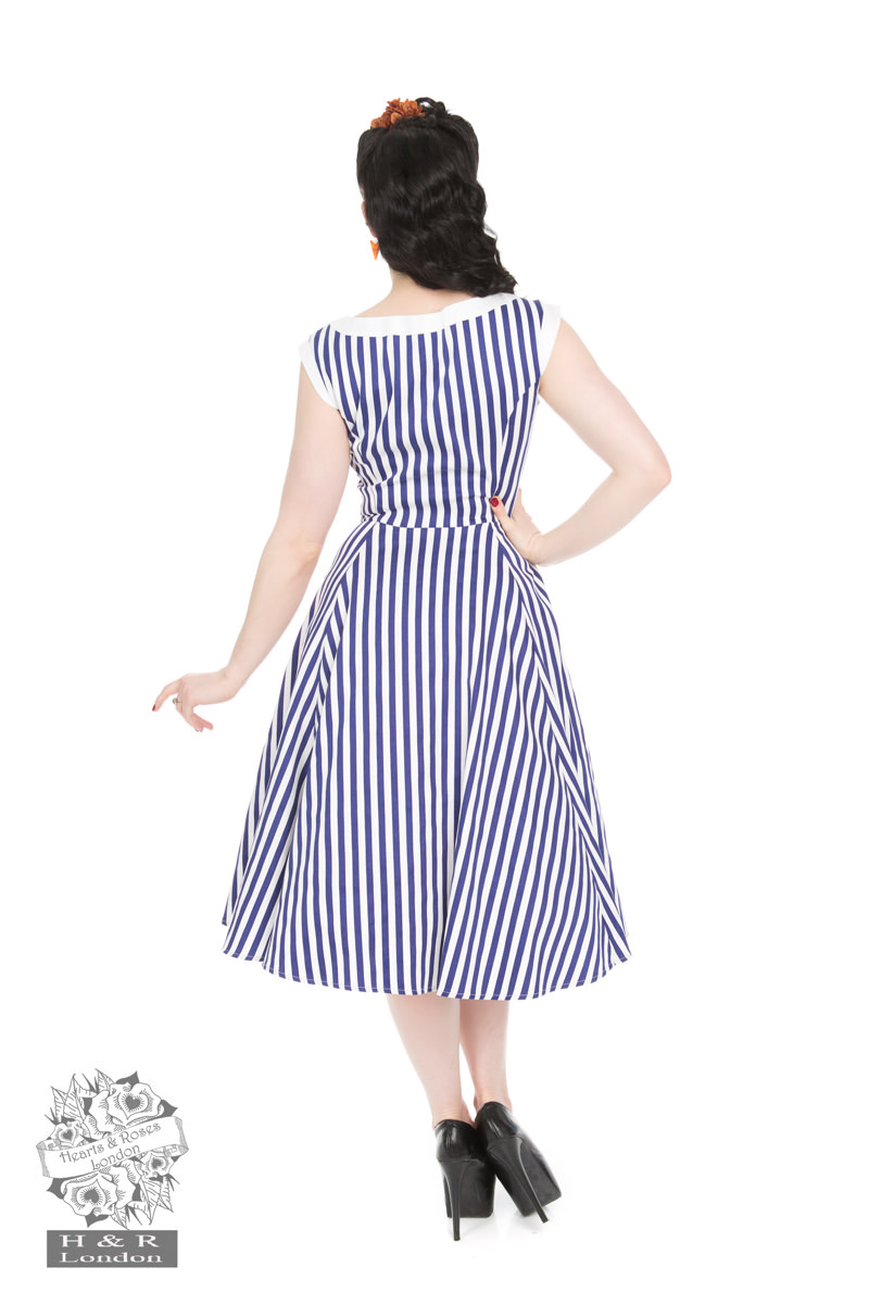 Blue Stripe Hepburn Dress