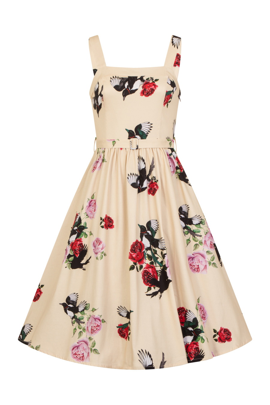 Yellow Rose Print Swing Dress
