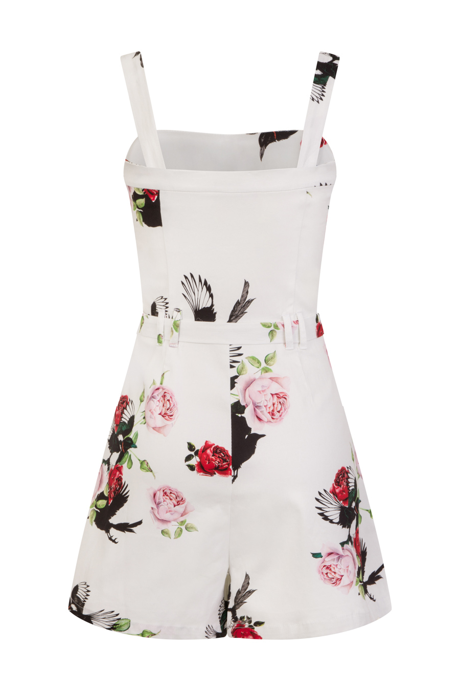 White Rose Print Playsuit