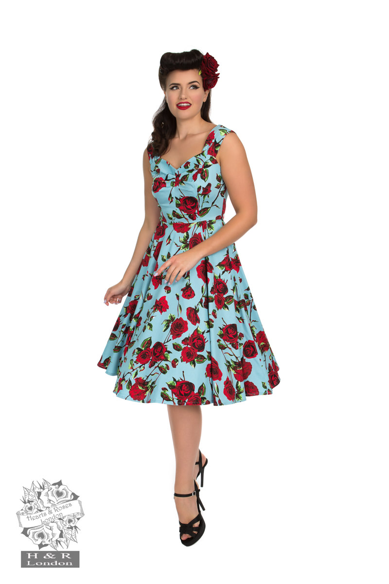 50s Ditsy Rose Floral Summer Dress in Blue