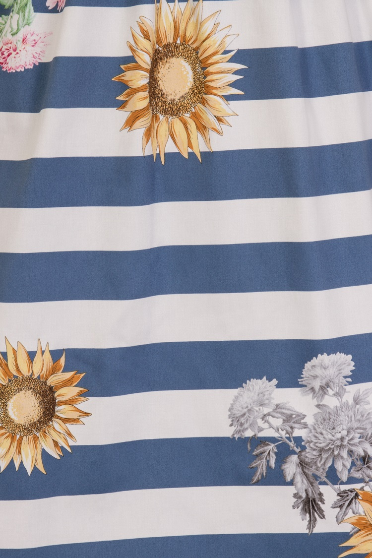 Blue Striped Skyscraper Sunflower Dress