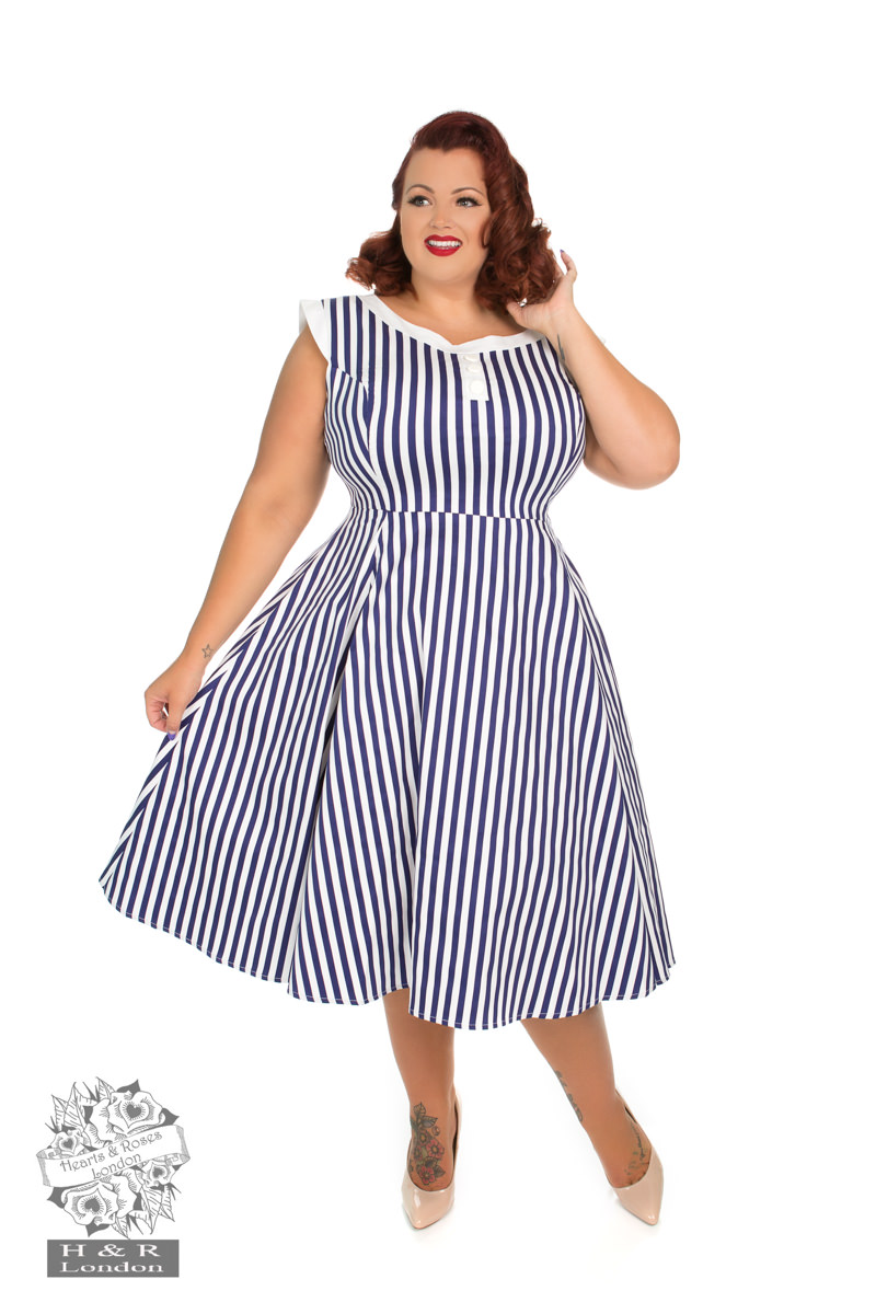 Blue Stripe Hepburn Dress