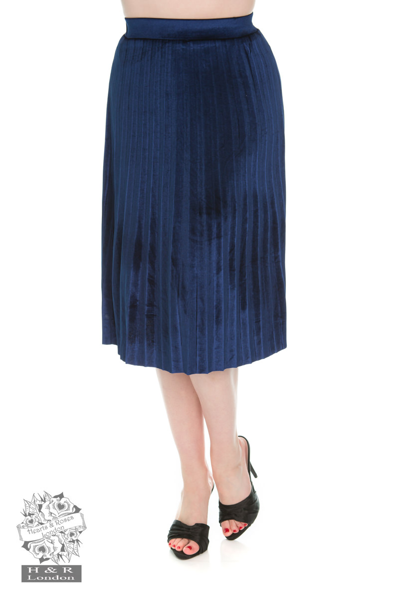 Navy Blue Pleated Velvet Skirt